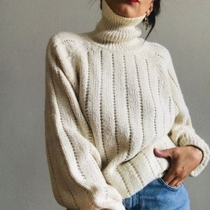 Sweaters - Objectives Turtle Neck Ivory Sweater